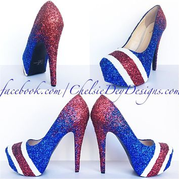 Red Ombre Glitter High Heels, Royal Blue Striped Wedding Shoes