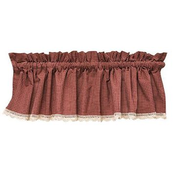 Burgundy Red Check Lace Valance