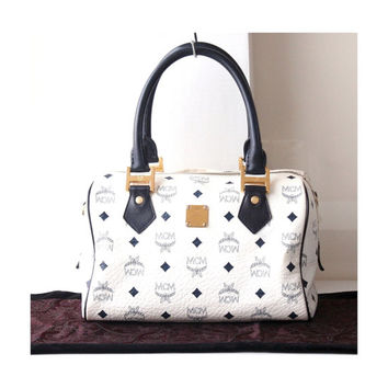 MCM Bag Visetos Monogram White Navy Boston Tote Bag Authentic Vintage bag