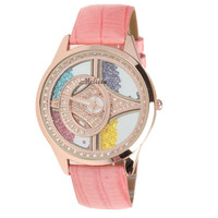 Melissa Leather Belt Women's Luxury Watch with Shaking Colorful Diamonds