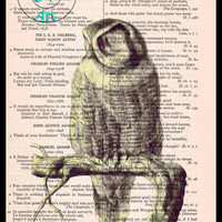 Pale Yellow Owl sitting on a Branch Drawing Beautifully Upcycled Vintage Dictionary Page Book Art Print, Bird Print