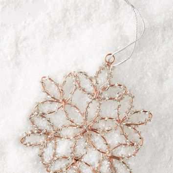 Rose Gold Snowflake Ornament
