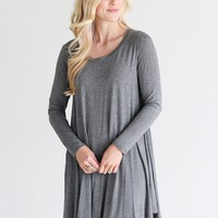 Dark Heather Gray PIKO Swing Dress