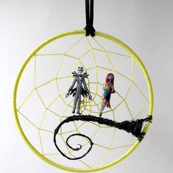 Nightmare before Christmas dream catcher, Jack and Sally moon scene