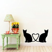 Cats Love Wall Decal Pussy Cats Love Heart Decals Wall Vinyl Sticker Home Interior Wall Decor Mural Design Graphic Bedroom Wall Decal Nursery Kids Baby Decor Children's Room (5992)