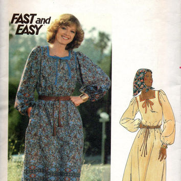 Boho Hippie Style 70s Peasant Dress Butterick 5610 Sewing Pattern Pullover Blouson Sleeves Square Neck Uncut Bust 34