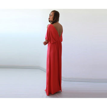 Coral formal maxi gown batwing sleeves