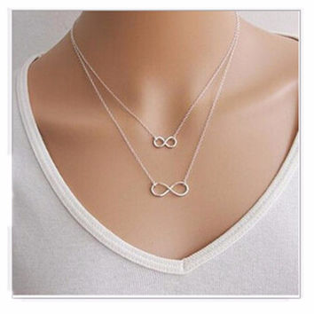 Fashion New 2016 Exo Men Necklace Collares Bijoux Double 8 Infinity Pendants Necklaces For Women Wedding Jewelry Choker Party