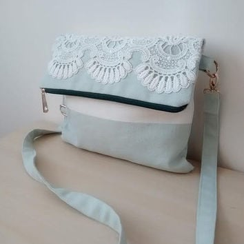 Canvas Crossbody Bag, Lace Foldover Bag, Mint Green Foldover Clutch, Canvas Handbag, Lace Bag, Linen Bag, Zippered Bag