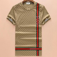 GUCCI 2018 summer new full printed snake print round neck short-sleeved T-shirt F-A00FS-GJ Khaki
