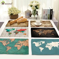 HAKOONA 4 Pieces Table Placemats Cotton Linen Fabric Various Types World Map Table Pads  Table Decoration 42*32cm