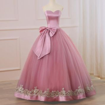 New Long Evening Dress Party Elegant Sweetheart Ball Gown Gold Applique Prom Gowns with Big Bow