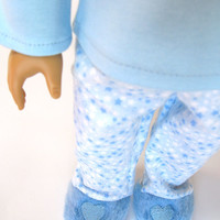 "Blue pajama set with flannel pants and slippers for American Girl and other 18"" Dolls"