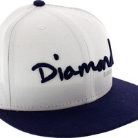 Diamond OG Script Hat 7-1/2 White/Navy Newera
