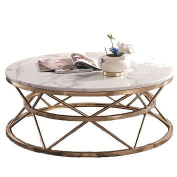 Royal Marble Metal Coffee Table With Antique Base