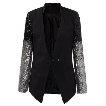 DCCKL3Z 2016 Spring Women Blazer Female Work Suit Spring Long Sleeve Lapel Silver Black Sequins Elegant Ladies feminino Plus Size S-4XL