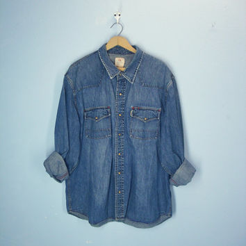 Mens Vintage Denim Shirt, Western Wood Snap Shirt, Mens Shirt, XL