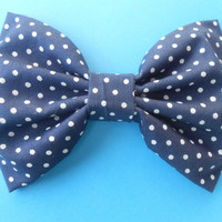 Navy Blue/ Small Polka Dot Hair Bow, Girls Hairbow,  Fabric Hair  Bow