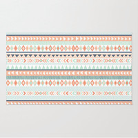 Mint and Coral Tribal Pattern Rug, Nursery Rug, Girls Room Decor