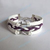 Infinity Bracelet - anchor bracelet with Infinity charm, white bracelet and purple color bracelet gift for girls