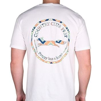 The Aztec Pattern Original Logo Tee Shirt in White by Country Club Prep