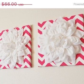 """MOTHERS DAY SALE Two Wall Flowers -White Dahlia Flowers on Hot Pink and White Chevron Print 12 x12"""" Canvas Wall Art- Baby Nursery Wall Decor"""