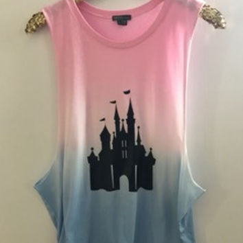 b0ca03ddebbb Disney Castle - Rainbow Ombre Muscle Tank - Ruffles with Love - Graphic Tee  - RWL
