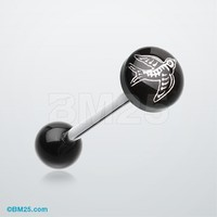 Flying Sparrow Logo Acrylic Barbell Tongue Ring