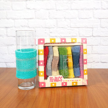 Hi-Jacs Coaster Classics Set of 8 Colorful Drink Koozies | Mid Century Retro Cocktail Party Barware