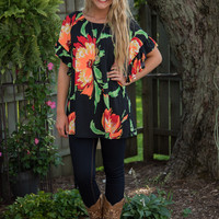 Pick Me Please Tunic - Black/Coral
