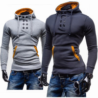 Double Breasted Hoodies Pullover Men Slim Hats Jacket [6528703043]
