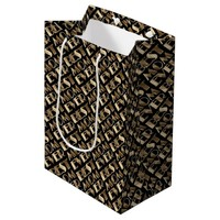 Typography Best Mom Ever Pattern Black and Gold Medium Gift Bag