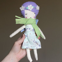 "Kids Gift Fairy Doll Play Set - Little Dress Up Doll for Girls Organic Cotton Fabric & Wool Blend Felt 10.75"" ish with Boho Flower Crown"