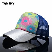 Casual girls summber baseball caps women flowers mesh hat brand snapback cap sequins shiny bone hats for women hip hop casquette