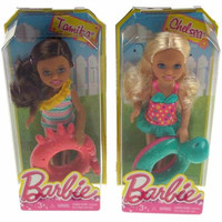 Lot 2 Barbie Friends Dolls Sister Chelsea Tamika Swim Ring Swimming Bathing Suit