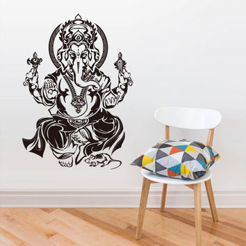 Wall Vinyl Sticker Decals Decor Art Bedroom Design Mural Ganesh Om Elephant Tattoo Head Mandala Tribal (z2693)