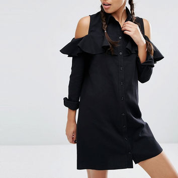 Sexy Gothic off shoulder patchwork black Long sleeves Ruffles Preppy Style