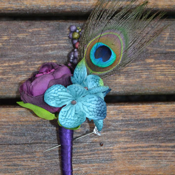 Peacock Boutonniere, Silk Wedding Flowers, Peacock Wedding, Rustic Wedding, Vintage Wedding,