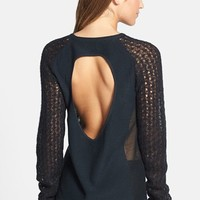 Tildon Open Back Mixed Knit Sweater | Nordstrom