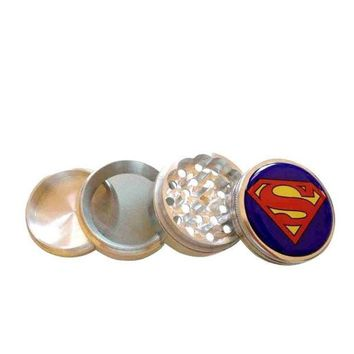 PEAPIX3 Superman Logo Herb Aluminum Grinder 2.2' 4 Piece w/ Pollen Screen = 1946331396