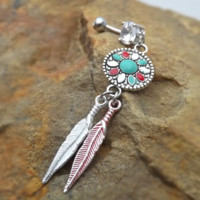 Dream Catcher Belly Ring Navel Ring Colored Feather Accents 14ga