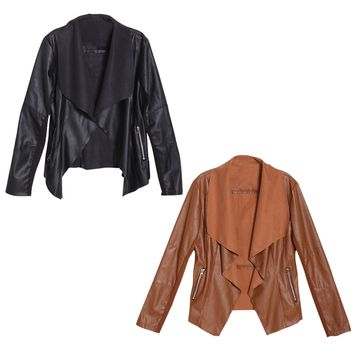 Trendy Retro Lady Women Slim Biker Motorcycle PU Soft Leather Zipper Jacket Coat