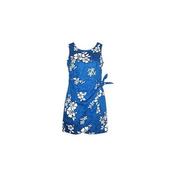 Waves Blue Short Hawaiian Sarong Floral Dress