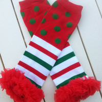 Baby Girls Christmas Polka Dot Leg Warmers with Red Chiffon Ruffle-Polka Dot and Striped Leg Warmers with Ruffle-Sz 6mo-8yrs