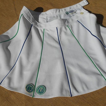 Vintage White Tennis Skirt M front Monogrammed Green and Blue Trimmed MAGLIFICIO Sportswear Made in Italy Medium #TENNISSKIRT