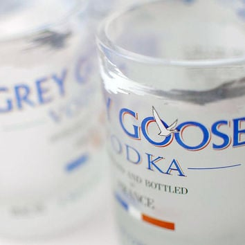 Two Grey Goose rocks glasses - upcycled recycled repurposed bottles