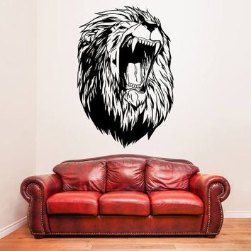 Lions Head Decal - Lion Vinyl Wall Sticker - King of the Jungle Art Decor Sticker - Wild Animal Aggressive Die Cut Mural + Free Random Decal