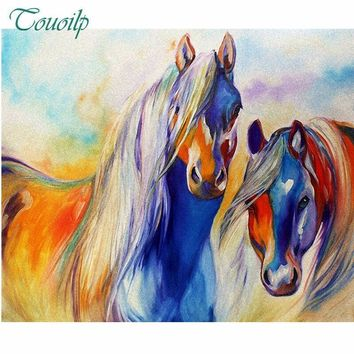 5D Diamond Painting Two Abstract Colored Horses Kit