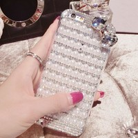 handmade diamond pearl bow iphone 6 6s plus case-170928