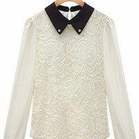 Paneled Beaded Basic Collar Lace Blouse - OASAP.com